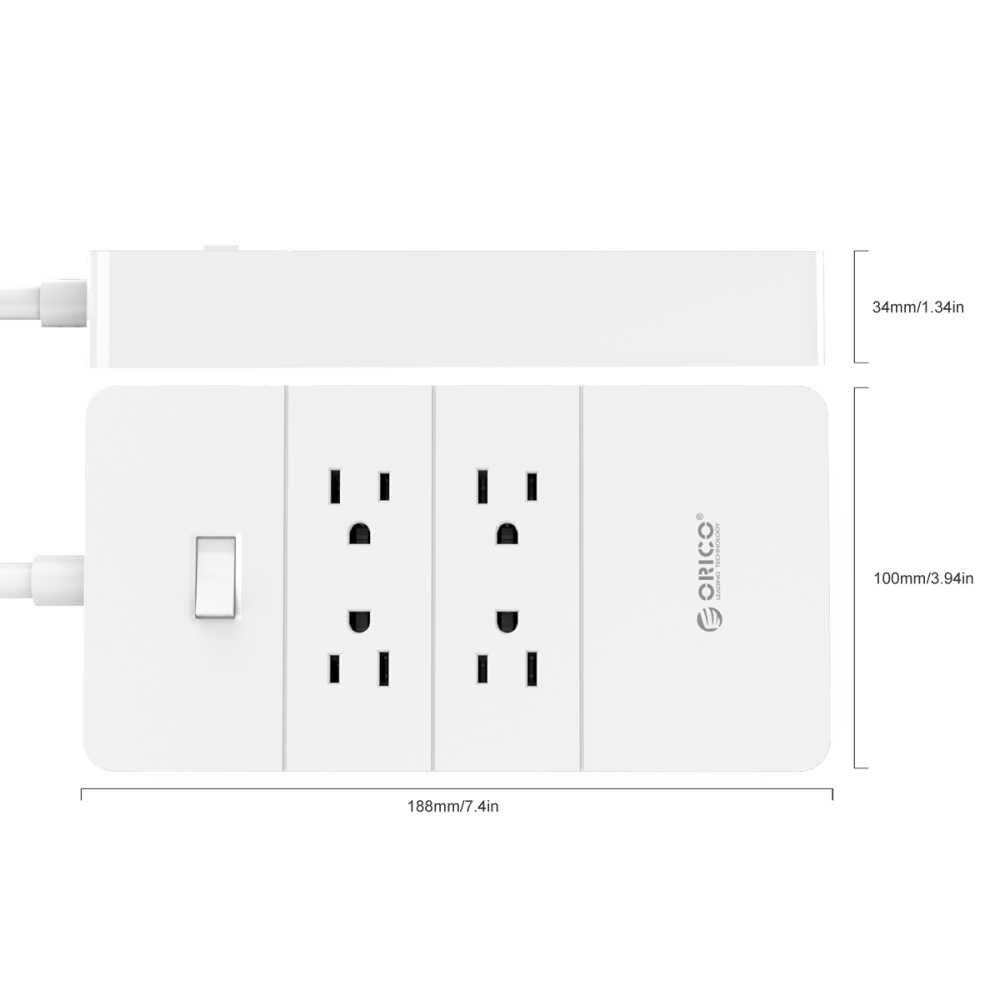 ORICO مأخذ (فيشة) ذكي Usb قابس متعدد الطاقة المنزل الالكترونيات عرام حامي 4 6 8 مخرج تيار متردد 1250 W 5 ميناء USB شاحن سريع 40 W