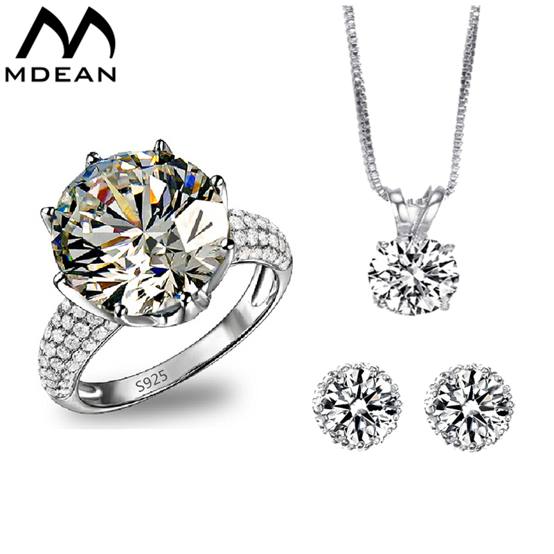 MDEAN Luxury Wedding Jewelry Sets Ring Earring Pendant