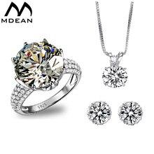 Mdean роскошные свадебные комплекты ювелирных изделий AAA циркон Bague обручальное Винтаж кольцо + серьги + кулон Модные Аксессуары