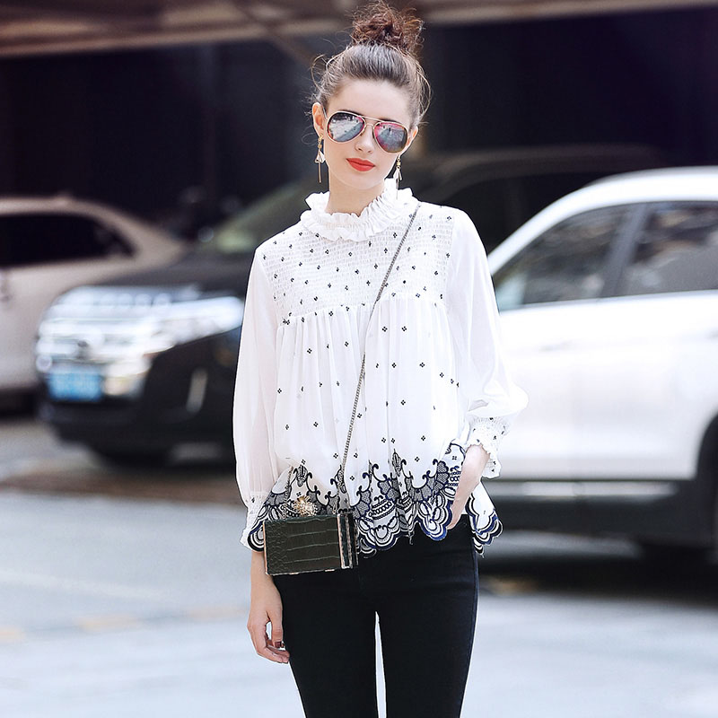 High-end women embroidery blouse shirt summer fashion runway elegant lady floral loose Chiffon shirt top female S-XL meifeier 407 women s fashionable knitted chiffon blouse apricot l