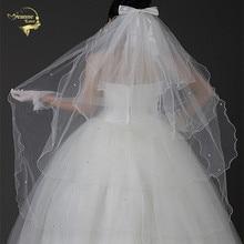 Короткие вуаль с расческой оптовой простой тюль свадебная фата четыре слоя свадебные аксессуары бусины аксессуары OV100129