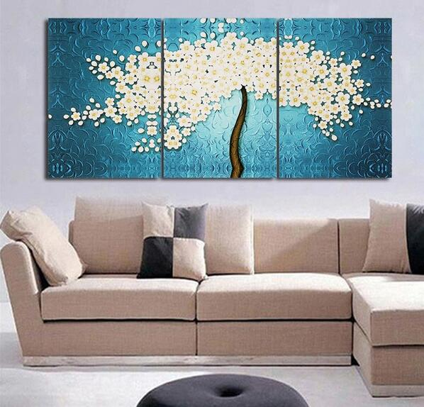 Aliexpress Com Buy 3 Piece Canvas Art Home Decoration: 3 Piece Abstract Large Tree Canvas Wall Art Oil Painting