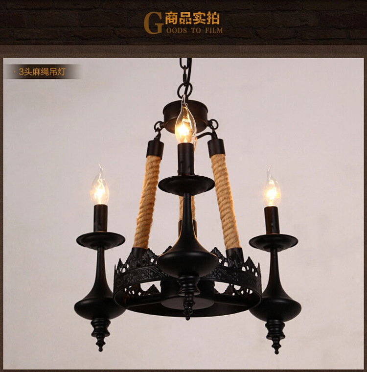 3/6/8 Head American Country Loft Style Hemp Rope Chandelier Wrought Iron Rpoe Lamp Vintage Dining Room Light Free Shipping