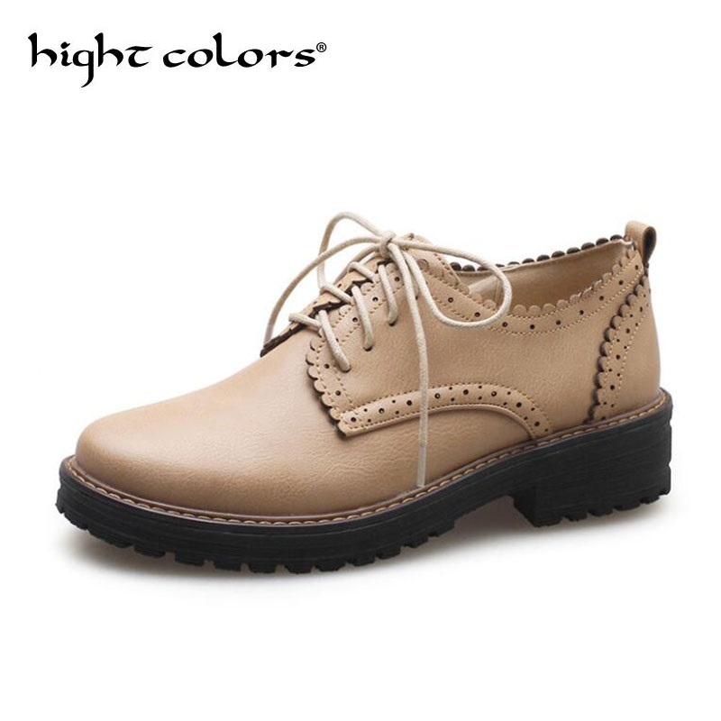 Black Grey Beige Brogue Shoes Woman Round Toe Platform Oxfords British Style Creepers Cut-Outs Flat Casual Women Shoes ladies casual platform wedges oxford shoes for women metallic pu cut outs women high heels summer brogue oxfords shoes woman