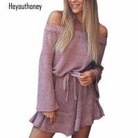 Heyouthoney Sexy Off Shoulder Strapless Knitting Sweater Dress Women Autumn Winter Elegant Ruffle Sashes Casual Mini
