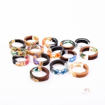 Handmade Flowers Wood Resin Ring42