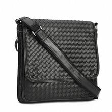 Famous Brand Luxury Frosted PU Leather Men Messenger Bags Vintage weave leather Men's Crossbody Bag,Fashion Shoulder Bag LI-1035