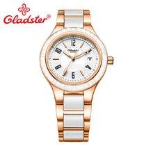 Роскошные Брендовые женские кварцевые часы Gladster с сапфировым стеклом, ювелирные изделия с бриллиантами, керамические женские часы, изысканные женские наручные часы под платье