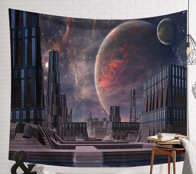 CAMMITEVER Alien Planet Space Sky Tapestry Wall Hanging Cloth Tapestries Bedroom Decor Art Headboard Backdrop Drop Shipping