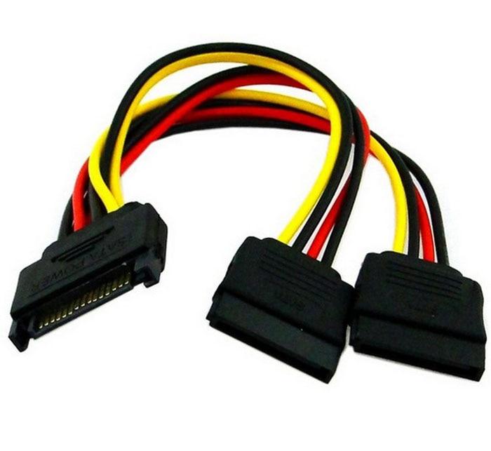 все цены на Drop shipping 15Pin SATA Male Plug To 2 Female 15Pin Power HDD Splitter Connector Cable Sep 26 онлайн