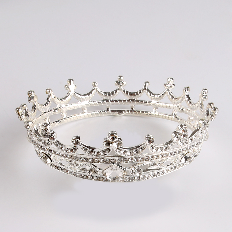 Vintage Crystal Round taira Crown Baroque Queen King Bridal Tiaras And Crowns Women Hair Ornaments Wedding Hair Jewelry HG030