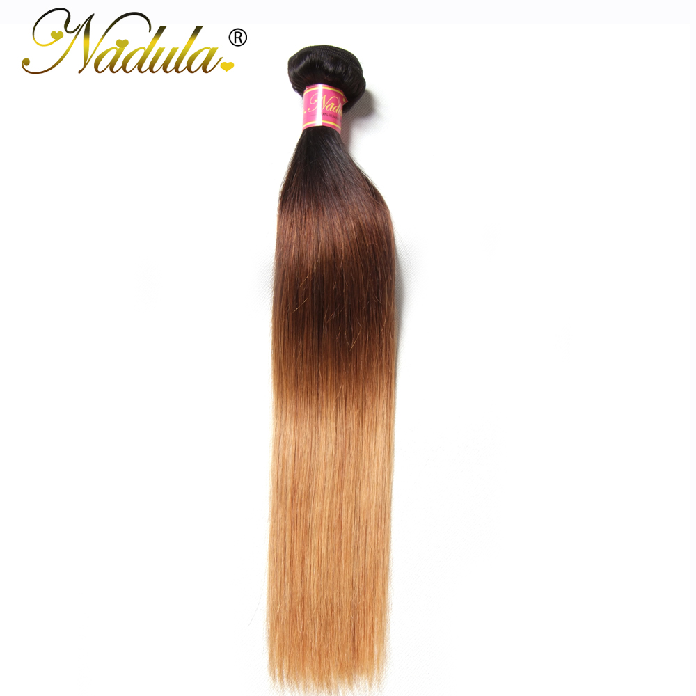 Nadula Hair T1B/4/27 Ombre Brazilian Straight Hair Extensions 1Piece - Human Hair (For Black)
