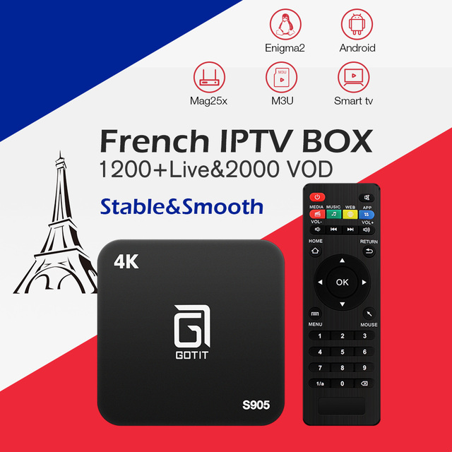 Best French Gotit S905 IPTV Android TV Box with 1 Year 1200+Arabic France Belgium IPTV code Live TV free smart set top tv box