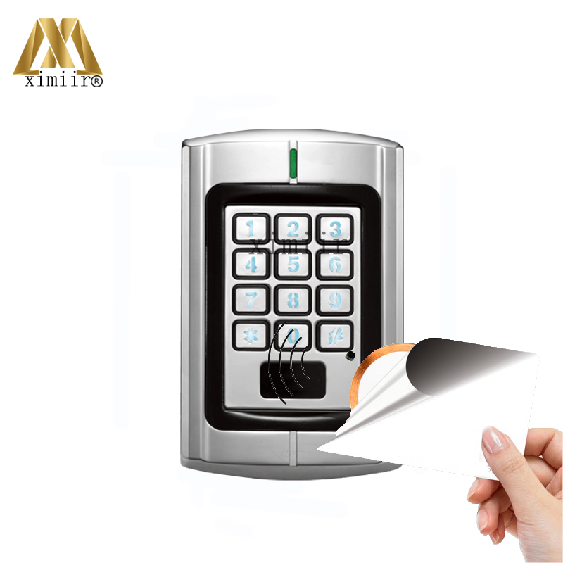 IP65 Waterproof Smart Card Access Control Metal Keypad Weigand Access Control Card Reader 13.56MH IC Card Access Control DF-V1 outdoor mf 13 56mhz weigand 26 door access control rfid card reader with two led lights