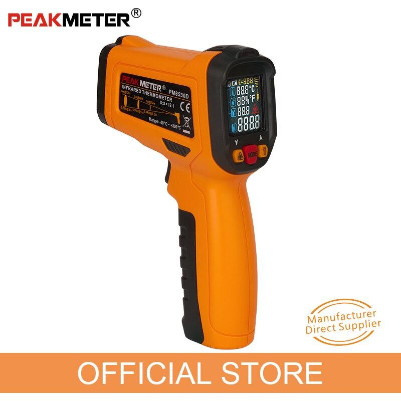 PEAKMETER PM6530D Pantalla LCD portátil termómetro de infrarrojos-50 ~ 800 con humedad y punto de rocío IRT K tipo de ambiente de luz UV