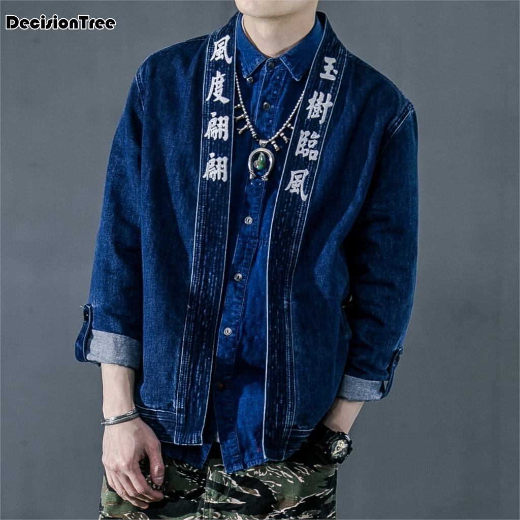 2019 chinese style embroidered cotton linen kimono male cardigan coats harajuku outerwear vintage denim loose