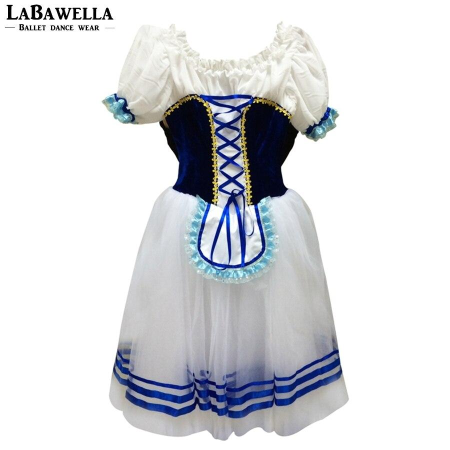 Giselle Ballet Long Tutu robe bleu professionnel romantique Giselle Ballet Tutu manches bouffantes bleu casse-noisette Ballet Costume BT9068A