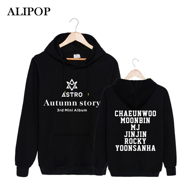 US $13 29 30% OFF|Kpop Korean Fashion ASTRO 3rd Mini Album Autumn Story  Cotton Hoodies With Hat Clothes Pullovers Sweatshirt PT305-in Hoodies &