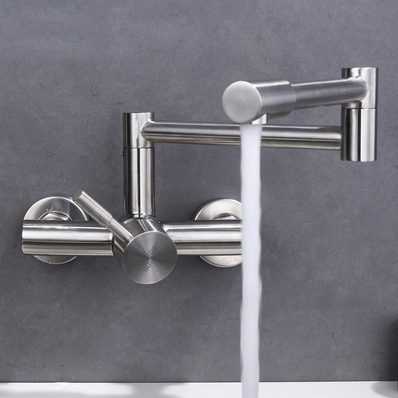 Free shipping stainless steel Folding lead free Kitchen Mixer Tap Sink Faucet Wall Mounted Hole Hot and Cold Water KF785 free shipping stainless steel folding lead free kitchen mixer tap sink faucet wall mounted hole hot and cold water kf785