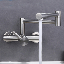 Free shipping stainless steel Folding lead free Kitchen Mixer Tap Sink Faucet Wall Mounted Hole Hot and Cold Water KF785