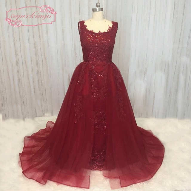 SuperKimJo Detachable Skirt Prom Dresses Long 2018 Burgundy Sequin Lace  Applique Arabic Evening Dress Long Graduation Dresses 01ea63ca756c