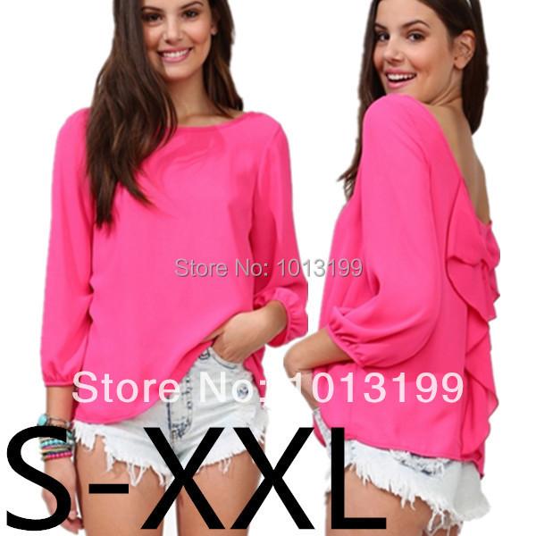Cinco cores S-XXL nova moda roupas femininas Chiffon Shirt 2014 verão solto Backless Bow blusa T41B