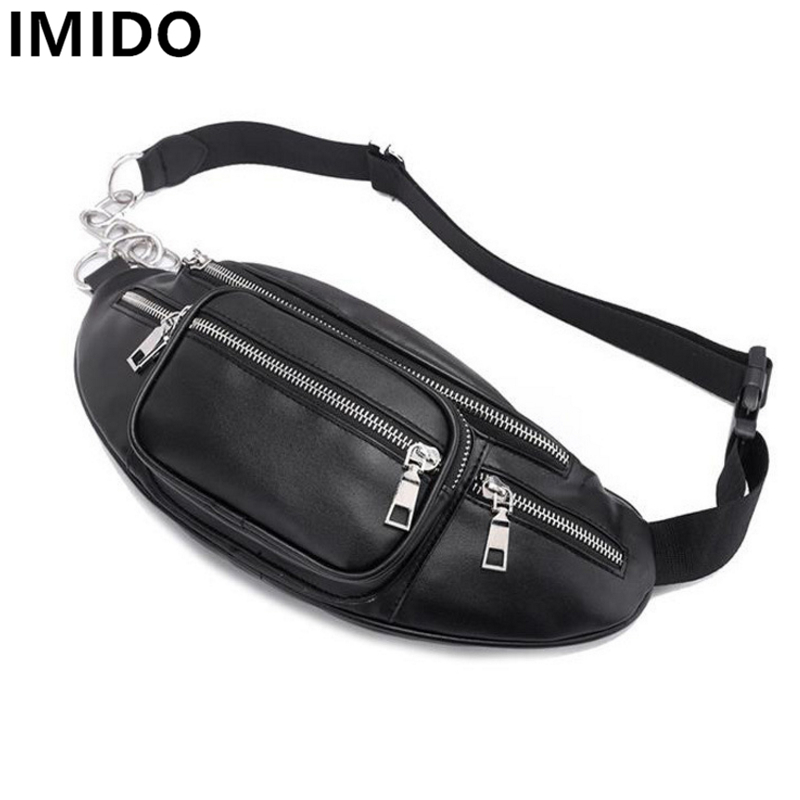 IMIDO New Bags Black Color PU Leather Waist Packs Fashion Classical Shoulder Bags All-match Summer ling Back Pack Travel Bags