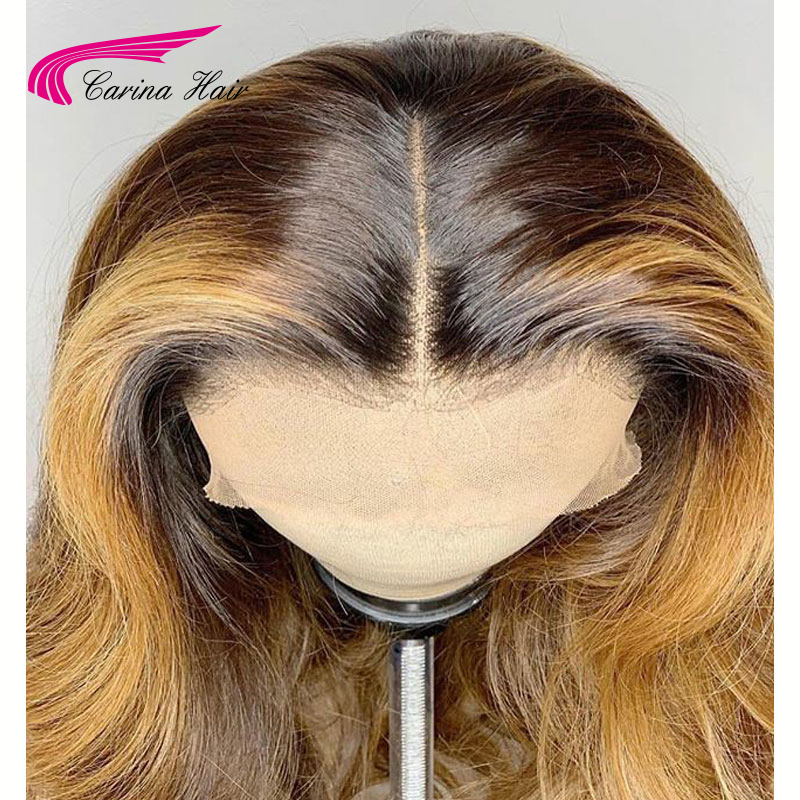 Image 3 - Carina Brazilian Body Wave 13X6 Lace Front Human Hair Wigs PrePlucked Honey Blonde Remy Ombre Color Glueless Wig-in Lace Front Wigs from Hair Extensions & Wigs