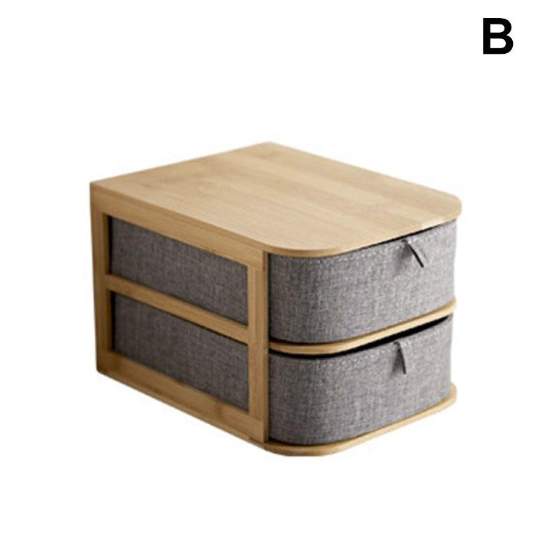 Boîte de rangement multi-couches en bois de bambou avec tiroirs en tissu Oxford pour bureau FP8 AP12
