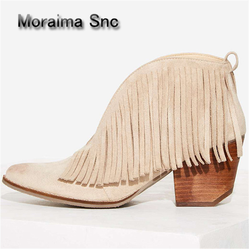 Moraima Snc Fringed Summer Autumn Riding Boots Sexy Front V Open Women Ankle Boots Chunky High Heels Slip On Tassels Women Pumps moraima snc red boots transparent high heels boots women square toe mid calf rainboots sexy ankle boots for women bottine femme