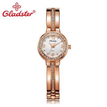 цена Gladster Luxury Jewelry Golden Women Bracelet Watch Fashion Waterproof Lady Dress Clock HardlexAnalog Quartz Female Wristwatch онлайн в 2017 году