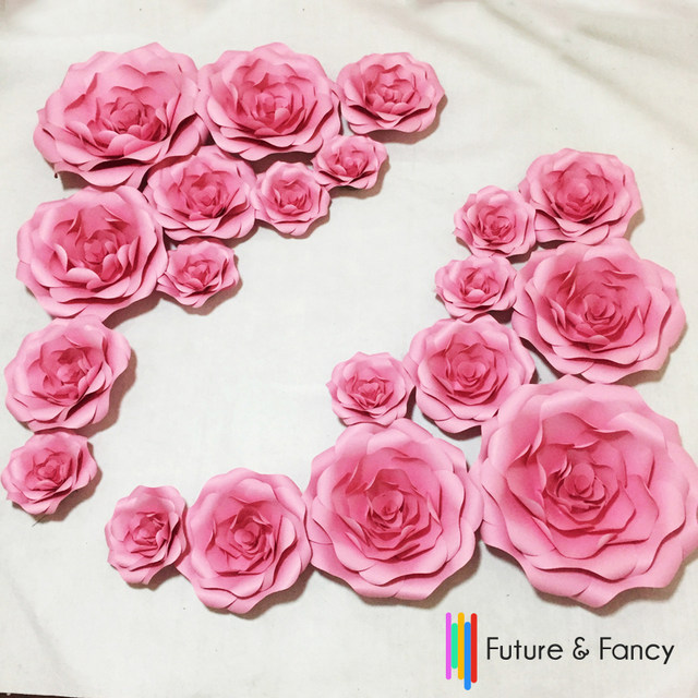 Online shop 20pcs set combination cardboard giant paper flowers wall sale mightylinksfo