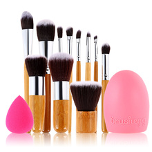 Natural & Recycled Fashion 11 PCS Foundation Powder Blush Lip Makeup Brush Brushegg Sponge Puff Makeup Comestic Set