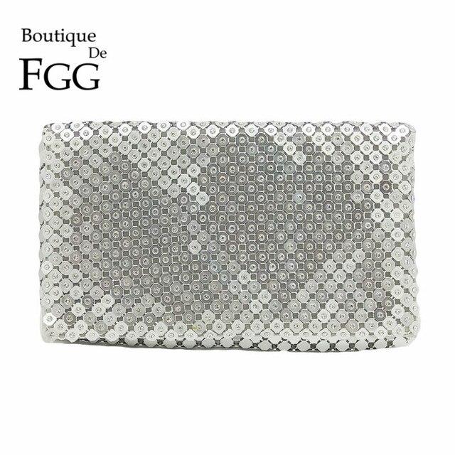8b3814705 Boutique De FGG Alumínio Prata Cristal Clutch Envelope Cadeia Bolsa bolsa  de Ombro Moda Feminina Bolsa