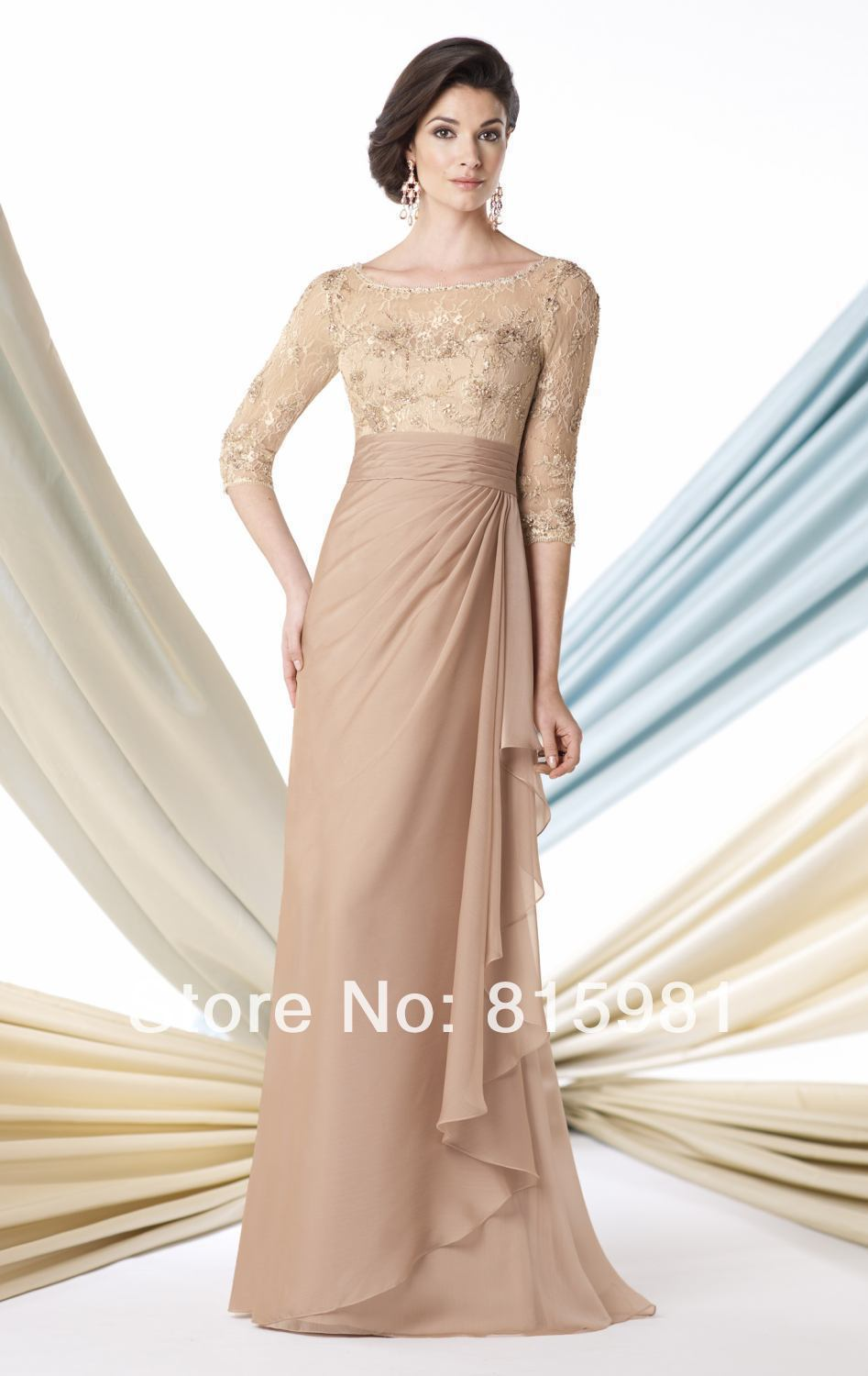 Light Taupe/ Champagne Gold Chiffon Laced Sleeved Evening Formal ...