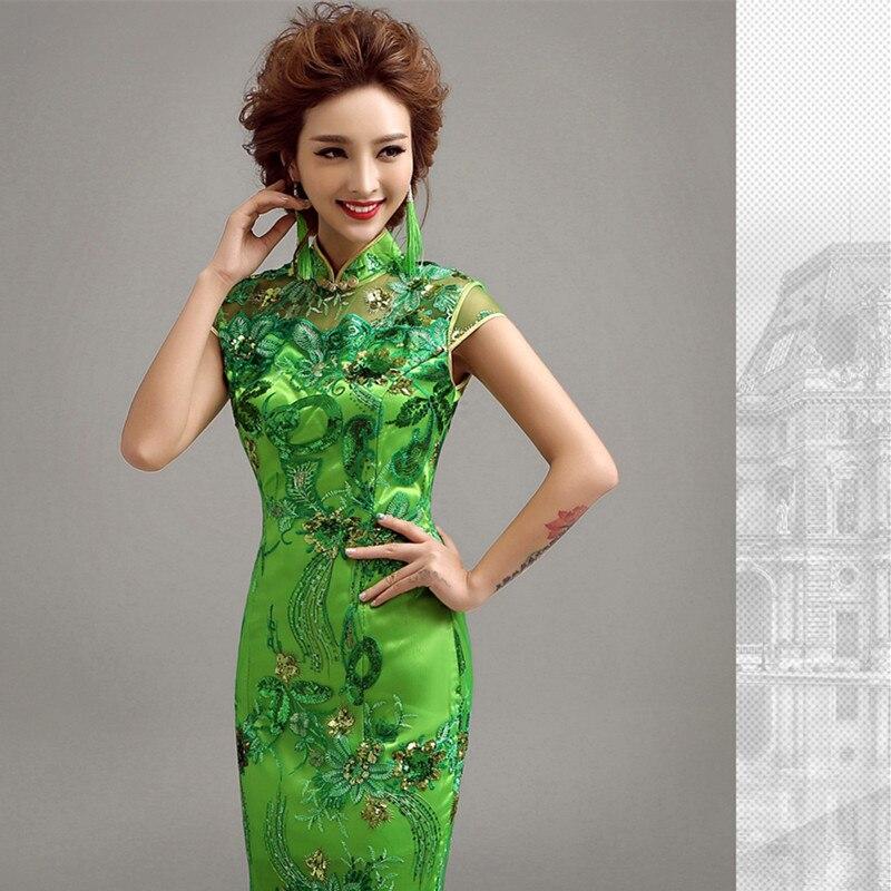 Pakaian Musim Sejuk Cheongsam Cina Tradisional Pakaian Sutera Satin - Pakaian kebangsaan - Foto 4