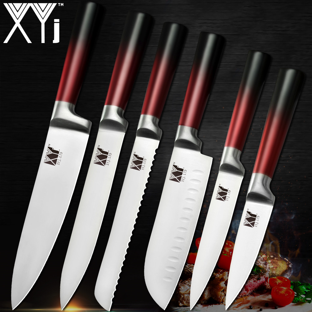 what is a good set of kitchen knives xyj best quality kitchen knife set 3cr13mov stainless steel chef knives set ultra sharp blade 9708