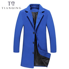 TIAN QIONG Men's Long Wool Trench Coats 2018 Winter Trench Coat Men Single Breasted Coat Overcoat Casual Slim Fit Windbreaker