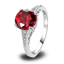 Art Deco Trendy Round Cut Red Cubic Ziconia Chic Fashion Silver Color Ring Size 6 7 8 9 10 11 12 New Romantic Love Style Jewelry
