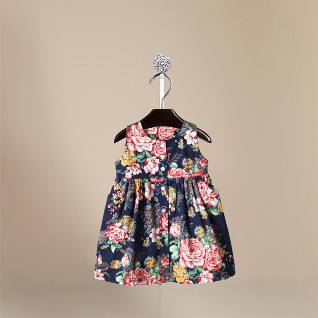 d2106eb8063c Vintage Baby Girls Floral Dress 80s Navy Blue Cotton Garden Party ...