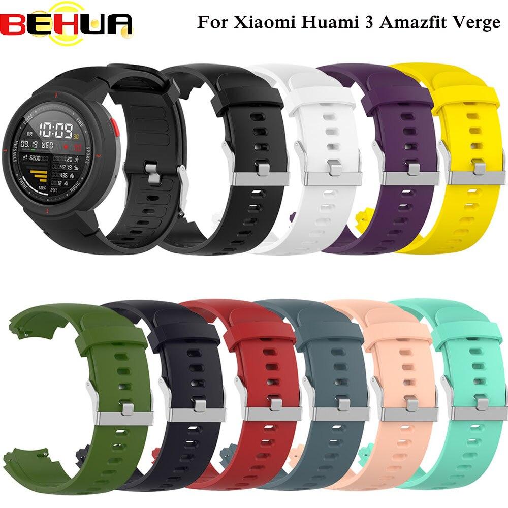 Pulseira de relógio de silicone, pulseira de relógio para xiaomi huami 3 amazfit verge, cinta de
