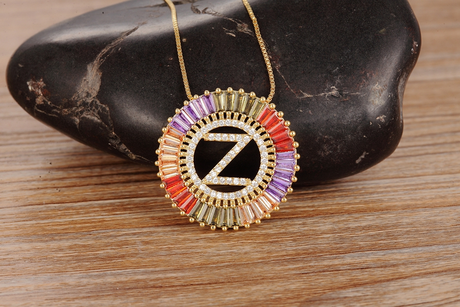 New Arrival Gold Color Micro Pave Rainbow CZ Cubic Zirconia A-Z Initials Letter Pendant Necklaces For Women Girls Fine Jewelry 6