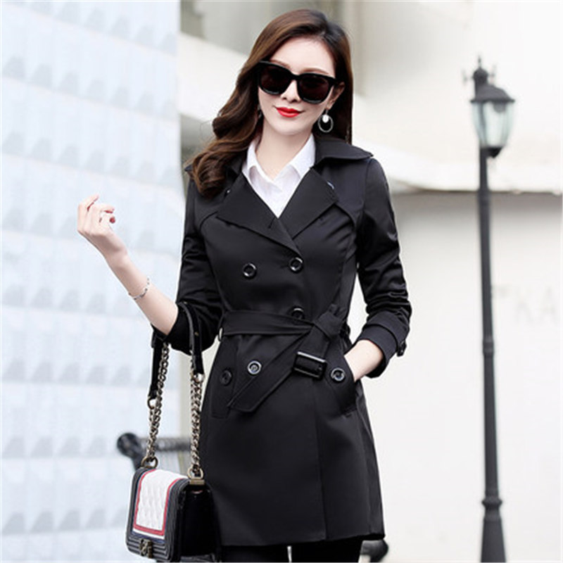 Fashion 2019 Spring Autumn Loose Windbreaker Coats Women's Elegant Overcoat Double Breasted Belted Slim Long   Trench   Coat XH144