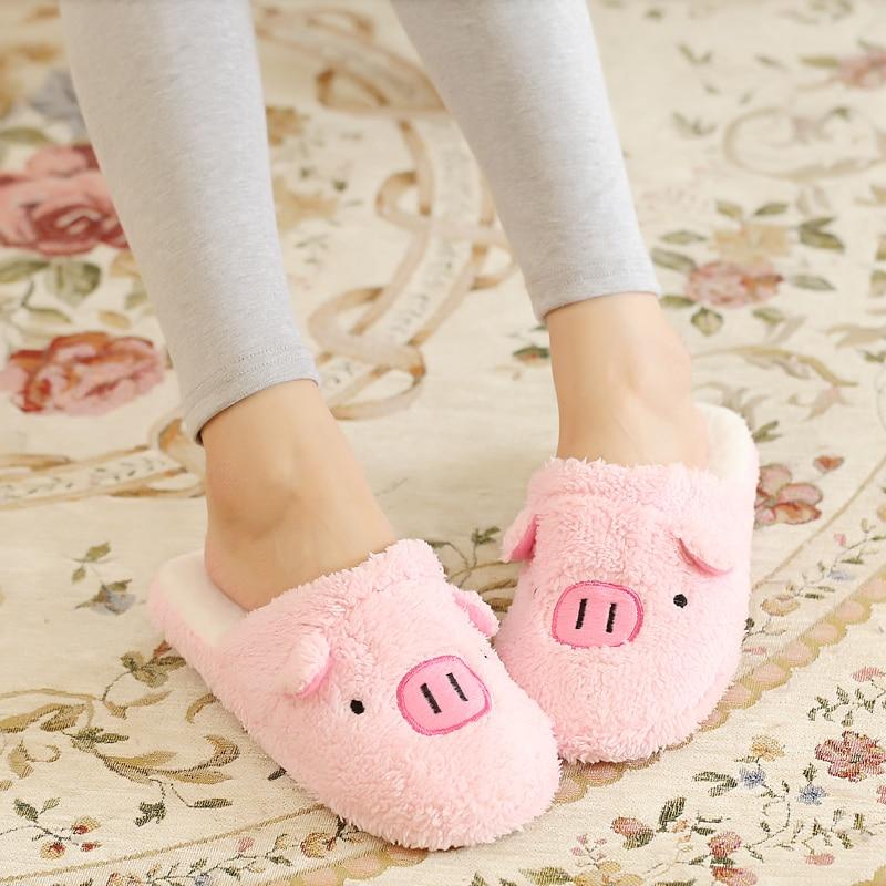 Hot Sale 2018 Autumn Winter Lovely Cartoon Pig Warm Slipper Soft Plush Velvet Shoes Man Home Slippers Women Indoor Floor Shoes
