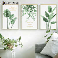 ART ZONE Nordic Green Plant Painting Minimalist Plant Landscape Painting Living Room Home Decor Wall Art Print Unframed Poster