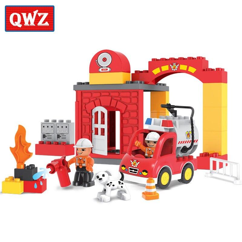 Qwz 35pcs City Fire Station Large Particles Building Block