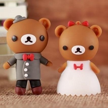 Wedding Gifts Cartoon Bear Cute USB Flash Drive 128GB Pen Drive 64GB Usb Memory Stick 32GB 16GB 512GB Creative Pendrive 256GB