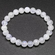 Натуральный Радужный Лунный Камень женские браслеты обручи синяя