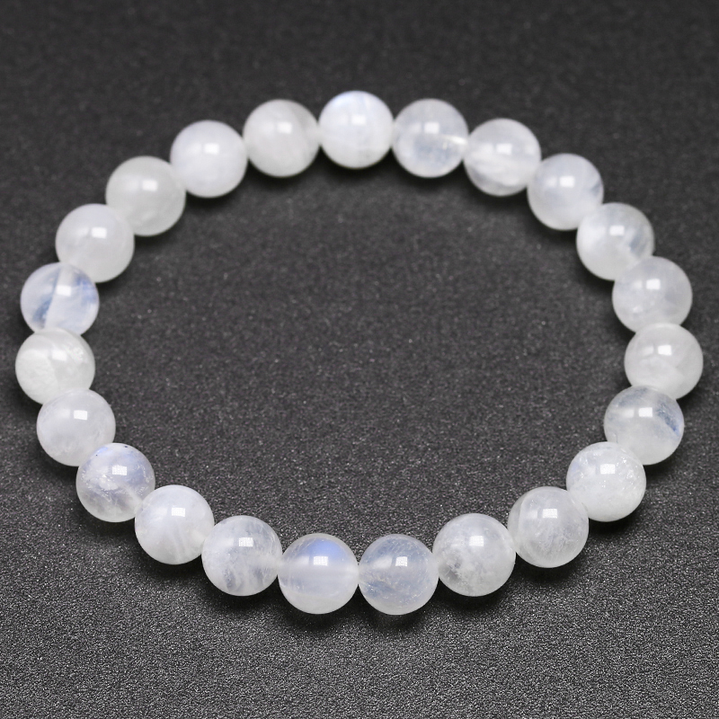 Natural Rainbow Moonstone Women Bracelets Bangles Blue Light Bracelets For Men Round Energy Stone Beads Handmade Jewellery Gift