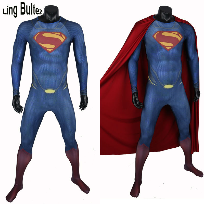Ling Bultez High Quality New Arrive Muscle Shade Superman Costume With Cape 3D Logo Man Of